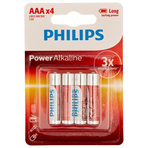 Philips LR03 AAA Alkaline Batterier 4 stk thumbnail