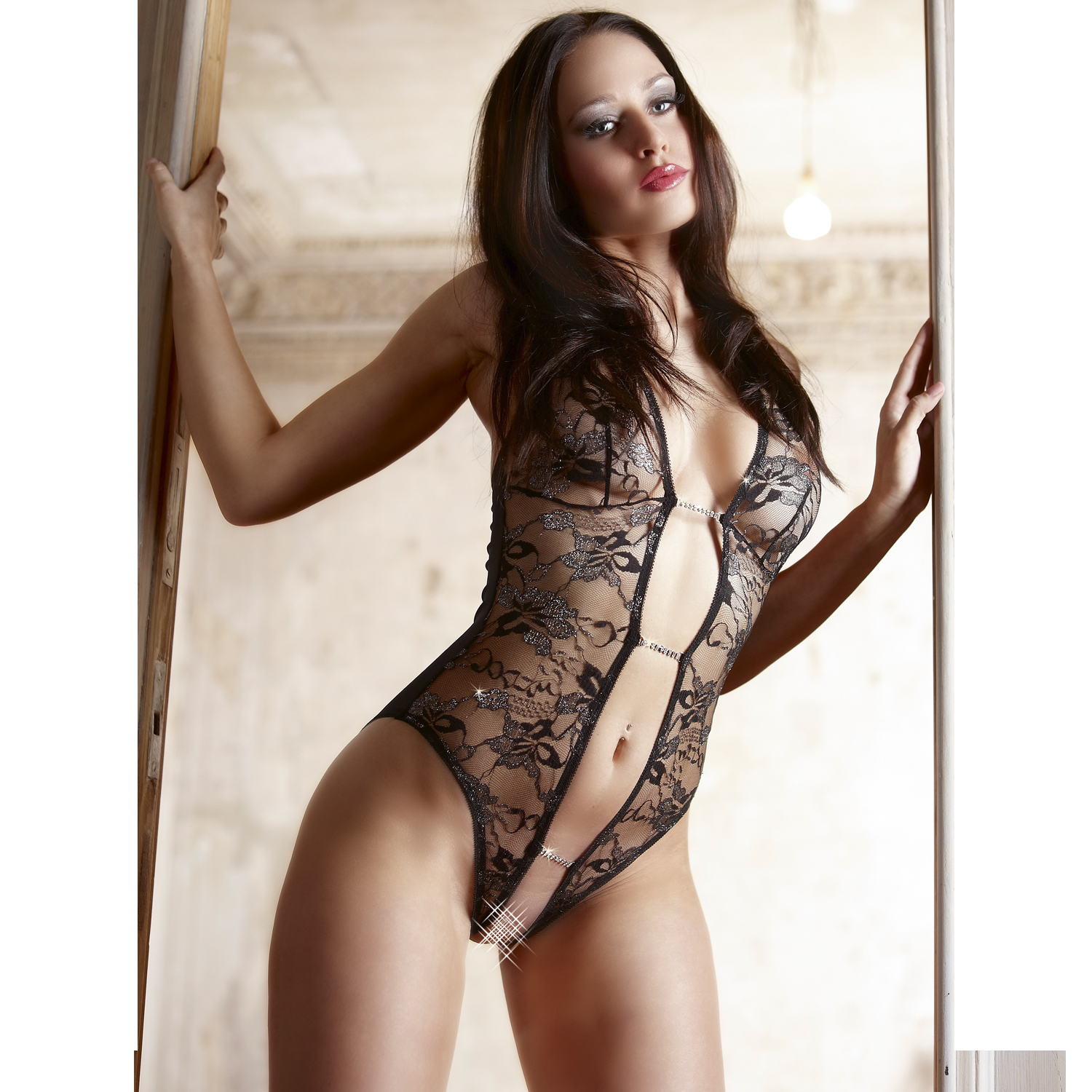 Image of   Abierta Fina Blonde Bodystocking