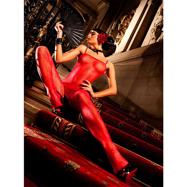 Image of   Baci Catsuit Bodystocking Net Rød