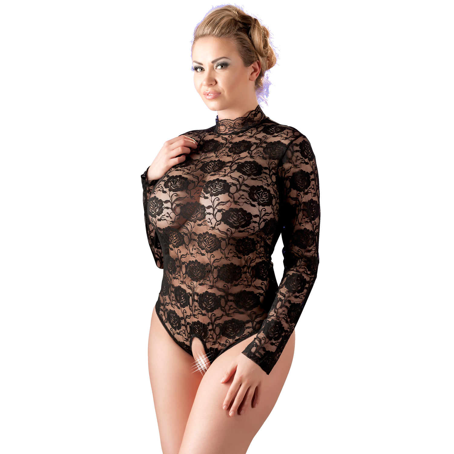 Cottelli Bundløs Blonde Bodystocking med Lange Ærmer Plus Size