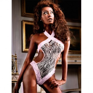 Baci Teddy/Bodystocking Zebra med Blondekant