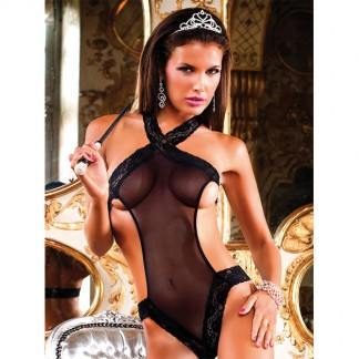 Baci Teddy/Bodystocking Net med Blonde Sort