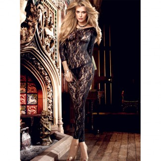 Baci Catsuit Bodystocking Langærmet Blonde Sort