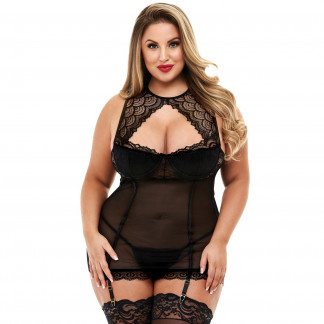 Baci Blonde Halterneck Mini Kjole Plus Size