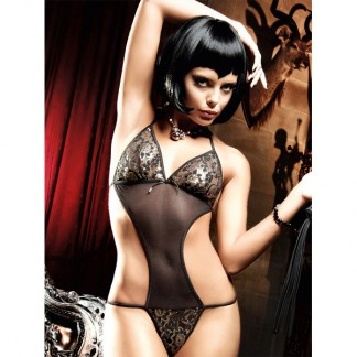 Baci Teddy/Bodystocking Blonde Sort/Sølvglimmer