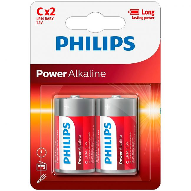 Philips LR14 C Alkaline Batterier 2 stk