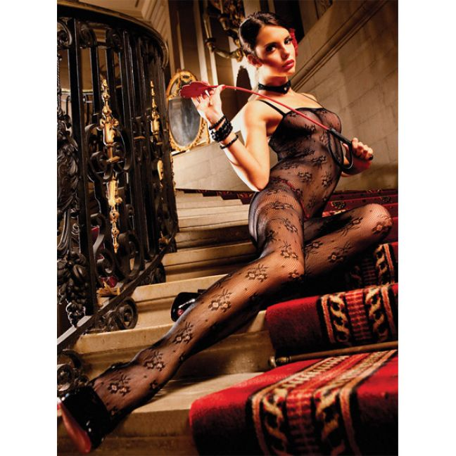 Baci Bundløs Net Bodystocking Catsuit Sort