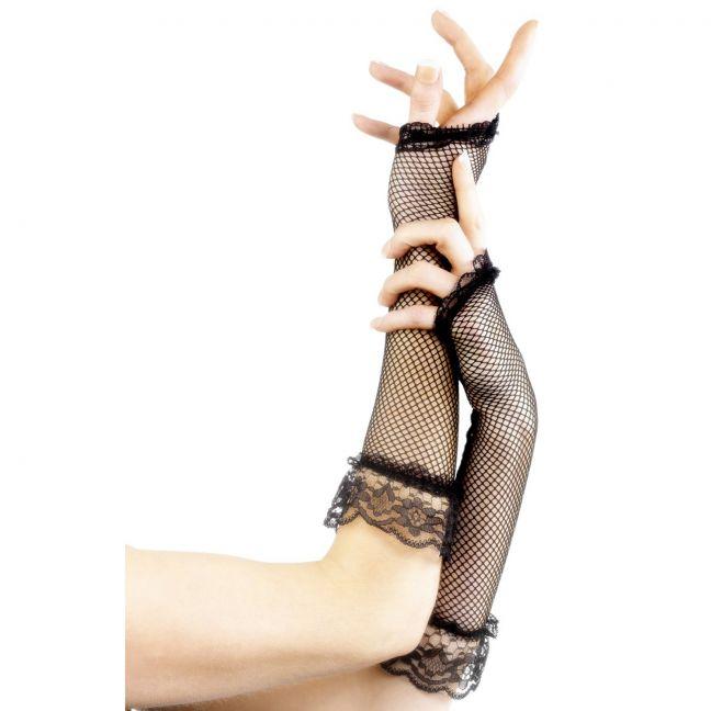 Fever Lange Fingerløse Net Handsker
