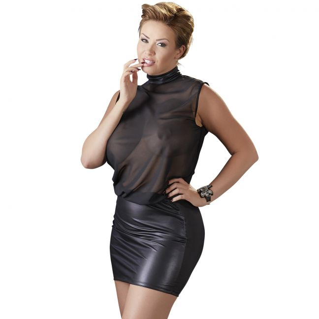 Cottelli Mesh Mini Kjole Plus Size