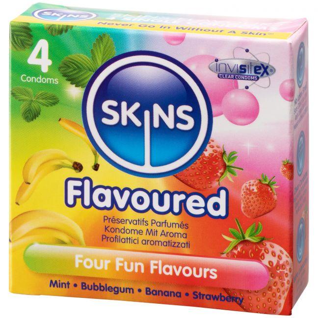 Skins Forskellige Kondomer med Smag 4 stk