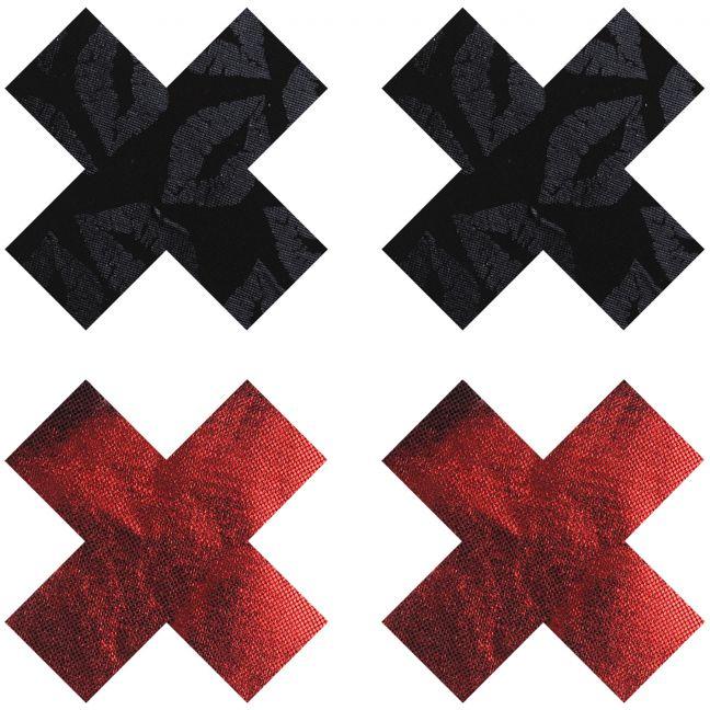 Peekaboos Nipple Stickers Kryds Rød 2 pak