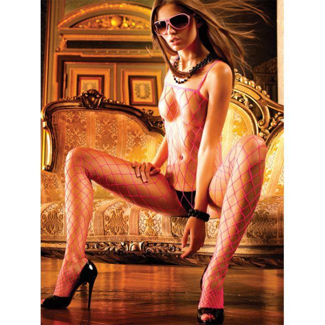 Baci Catsuit Bodystocking Net Pink