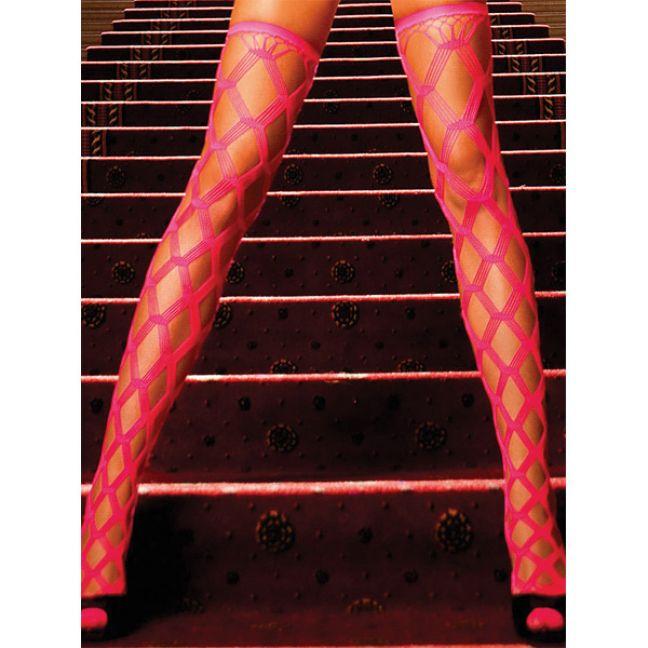 Baci Netstrømper Selvsiddende Neon Pink
