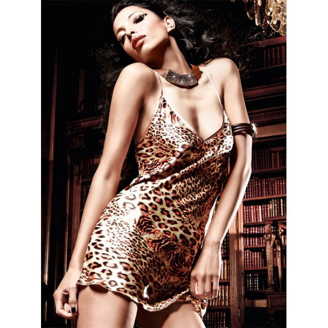 Baci Satinkjole Leopard