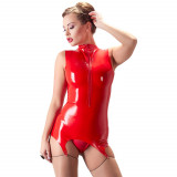 Late X Latex Skjorte med Hofteholder Rød