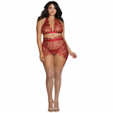 Dreamgirl Delicate Floral BH Sæt Plus Size