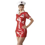 Black Level Sygeplejerske Kostume i Lak