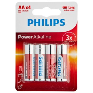 Philips LR06 AA Alkaline Batterier 4 stk