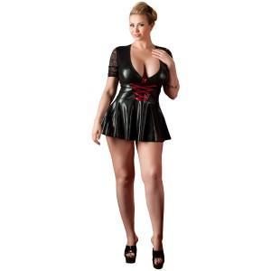 Cottelli Wetlook Kjole med Snøre Plus Size