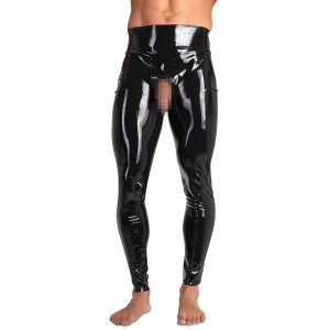 Late X Latex Leggings med Åben Front