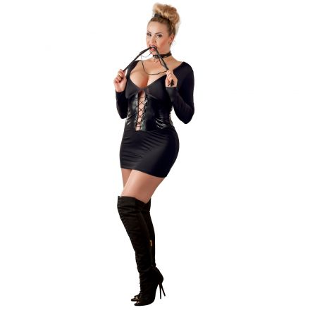 Cottelli Mini Kjole med Wetlook Korset Plus Size