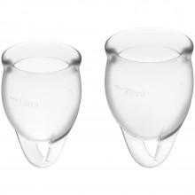 Satisfyer Feel Confident Menstruationskop Clear 2 pak billede af emballagen 1
