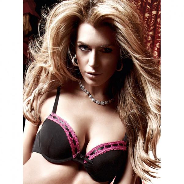 Baci BH Push-up med Blondekant Sort/Pink  1