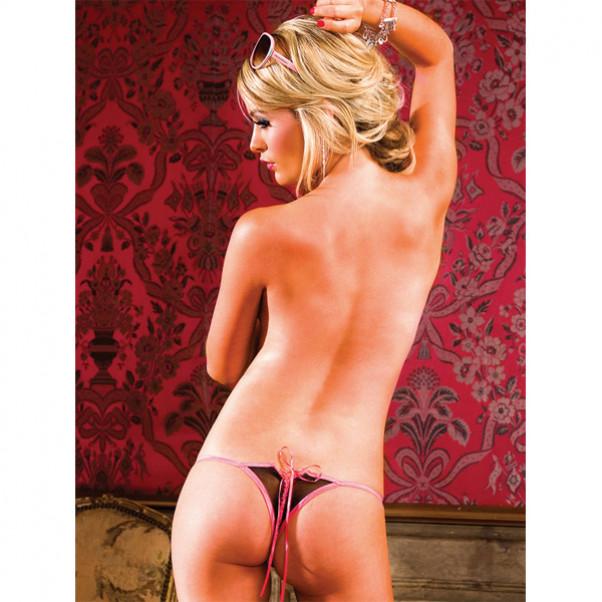 Baci G-streng Ouvert Trusse med Snøre Sort-Pink  2