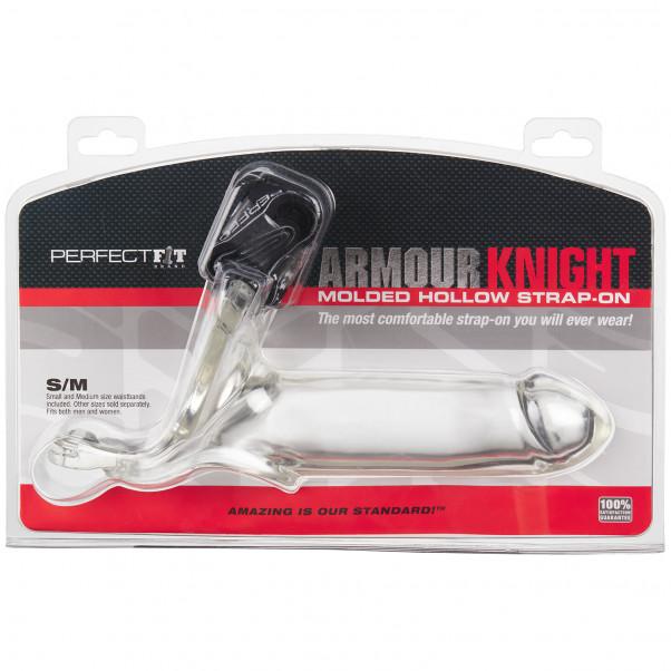 Perfect Fit Armour Knight XL Gennemsigtig Silikone Strap On billede af emballagen 90