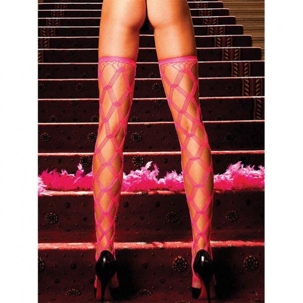 Baci Netstrømper Selvsiddende Neon Pink  2
