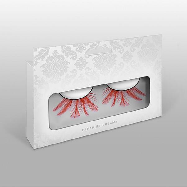 Øjenvipper røde med fjer