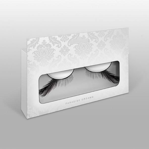 Sorte Kunstige øjenvipper med fjer
