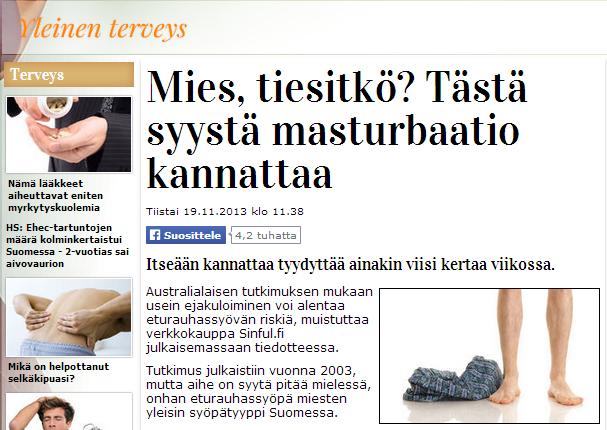 Mies, tiesitkö? - Iltasanomien Artikkeli 19.11.2013