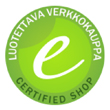 Tämä verkkokauppa on läpäissyt Suomen Varmakauppa Oy:n sertifiointiprosessin ja on oikeutettu käyttämään Luotettava Verkkokauppa -sertifikaattia.
