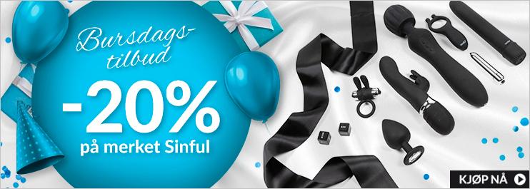 Bursdag -20% på merket Sinful