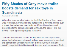 EkonomiNyheter.se - Fifty Shades of Grey movie trailer boosts demand for sex toys in Scandinavia